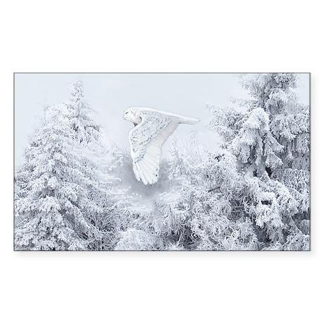 Snowy Owl in Blizzard Sticker (Rectangle)