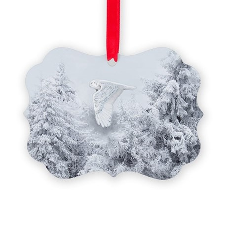 Snowy Owl in Blizzard Picture Ornament