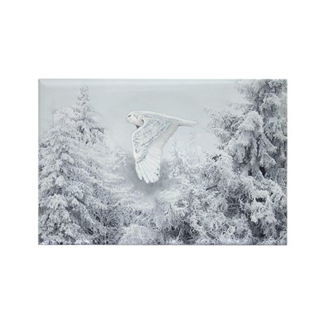 Snowy Owl in Blizzard Rectangle Magnet