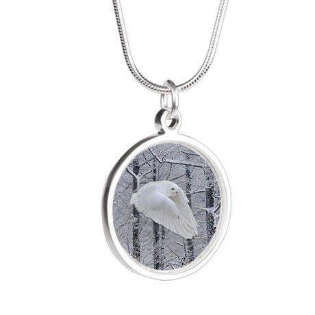 Snowy Owl, Praying Wings Silver Round Necklace