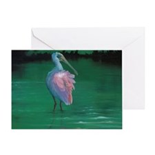 On the Flip-side - Roseate Spoonbill Greeting Card