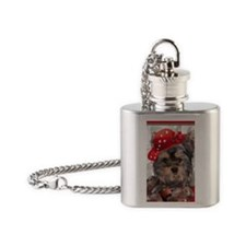 Yorkie In A Red Hat Journal Flask Necklace