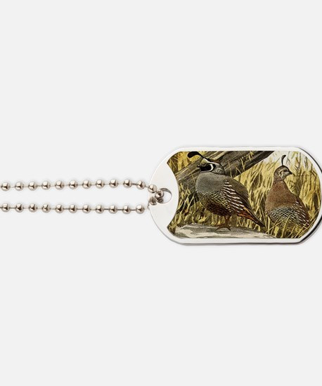 Quail in the grass Dog Tags