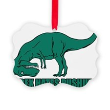 T-rex Hares Pushups Picture Ornament
