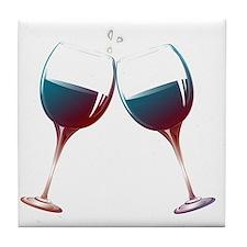 Clinking Wine Glasses Tile Coaster