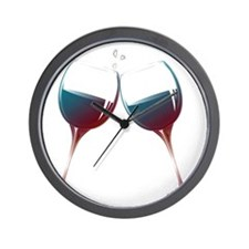 Clinking Wine Glasses Wall Clock