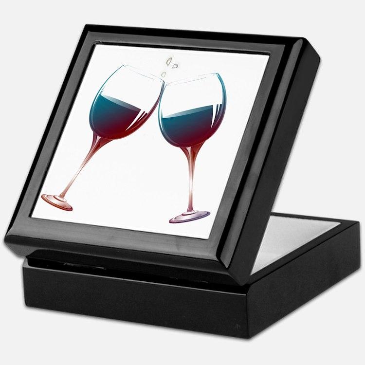 Clinking Wine Glasses Keepsake Box