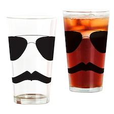 Aviator Sun Glasses and Mustache Drinking Glass