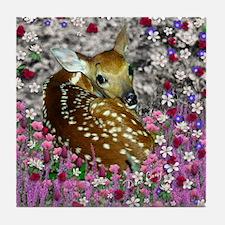 Bambina the Fawn in Flowers II Tile Coaster