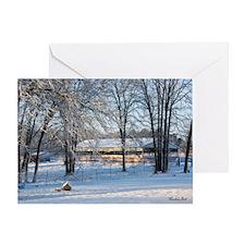 Snowy Barn at Daybreak Greeting Card