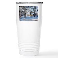 Snowy Barn at Daybreak Travel Mug