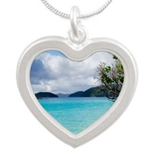 Cinnamon Bay, St. John VI Silver Heart Necklace