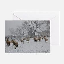 Wintery Snow Sheep Greeting Card
