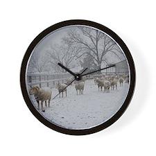 Wintery Snow Sheep Wall Clock