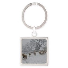 Wintery Snow Sheep Square Keychain