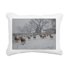 Wintery Snow Sheep Rectangular Canvas Pillow