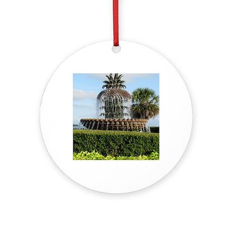 Charleston SC Pineapple Fountain Round Ornament