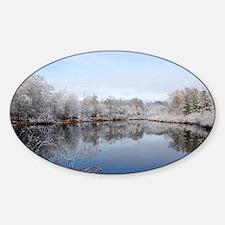 Snowy Pond Reflection-East Texas Sticker (Oval)