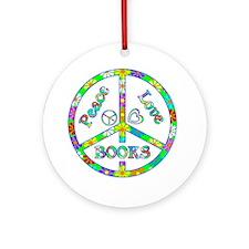 Peace Love Books Round Ornament