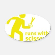runninWithScissors5D Oval Car Magnet