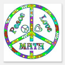 "Peace Love Math Square Car Magnet 3"" x 3"""