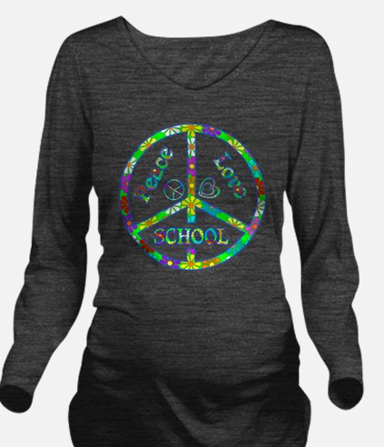 Peace Love School Long Sleeve Maternity T-Shirt