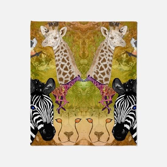 African Wildlife Throw Blanket