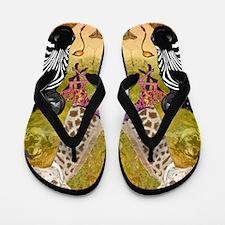 African Wildlife Flip Flops