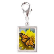 Monarch butterfly Silver Portrait Charm