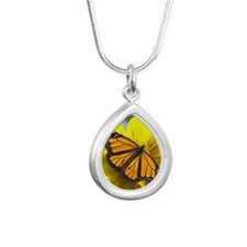 Monarch butterfly Silver Teardrop Necklace