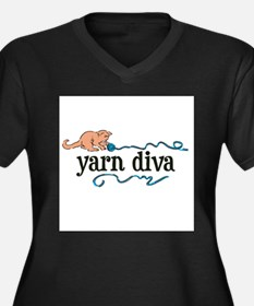 Yarn Diva Women's Plus Size V-Neck Dark T-Shirt
