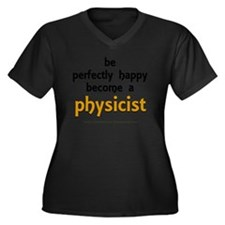 Be Happy Phy Women's Plus Size Dark V-Neck T-Shirt
