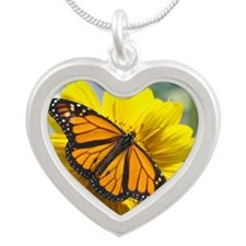 Monarch Butterfly Silver Heart Necklace