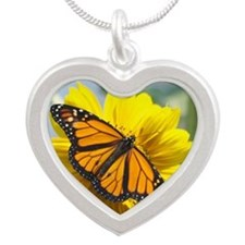 Monarch Butterfly Silver Heart Necklace