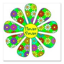 "Cool Flower Power Square Car Magnet 3"" x 3"""