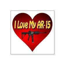 "I Love My AR-15 Square Sticker 3"" x 3"""