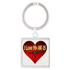 I Love My AR-15 Square Keychain