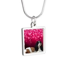 Cavalier King Charles Span Silver Square Necklace