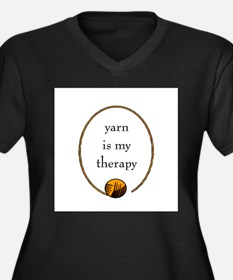 Yarn Is My Therapy Women's Plus Size V-Neck Dark T