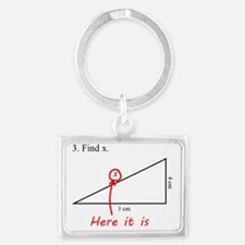 Find x Math Problem Landscape Keychain