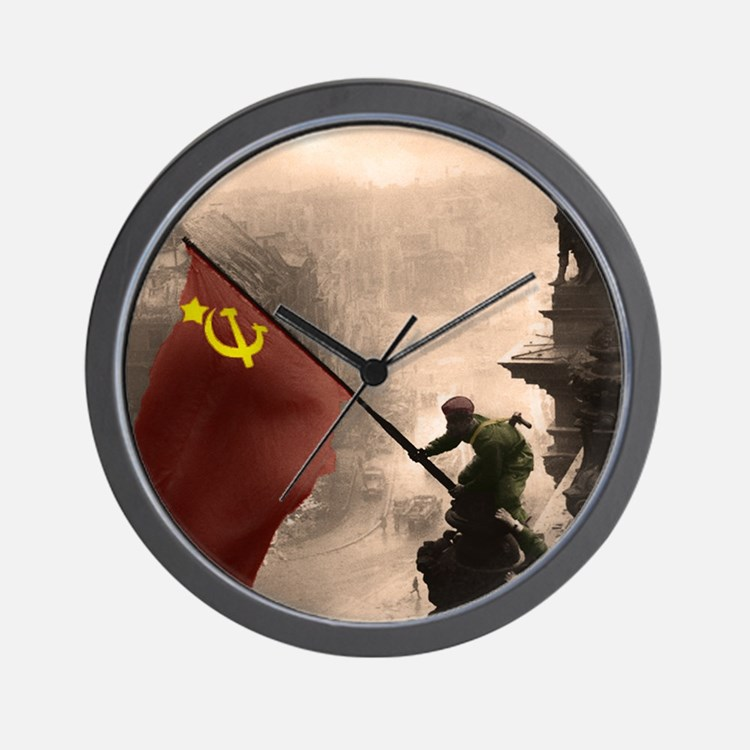Russian Flag over the Reichstag in Colo Wall Clock