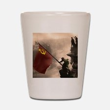Russian Flag over the Reichstag in Colo Shot Glass