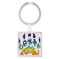 Rainbow bear claw Square Keychain