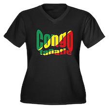 Congo fanatic flag Women's Plus Size V-Neck Dark T