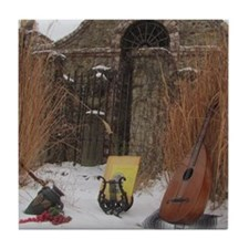 2Cal_Jan_Lute_Guitar_Old_World_Alamo Tile Coaster