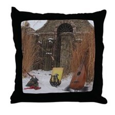 2Cal_Jan_Lute_Guitar_Old_World_Alamo Throw Pillow