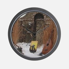 2Cal_Jan_Lute_Guitar_Old_World_Alamo Wall Clock