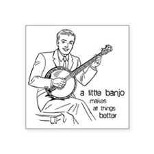 """Little Banjo Makes All Thin Square Sticker 3"""" x 3"""""""