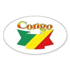 Congo CGO flag ribbon Oval Decal