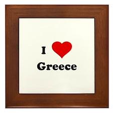 I Love Greece Framed Tile